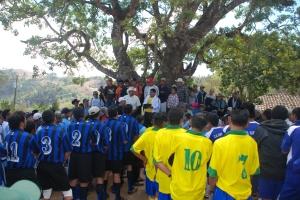 Preparación de partido de futbol en Nahuaterique